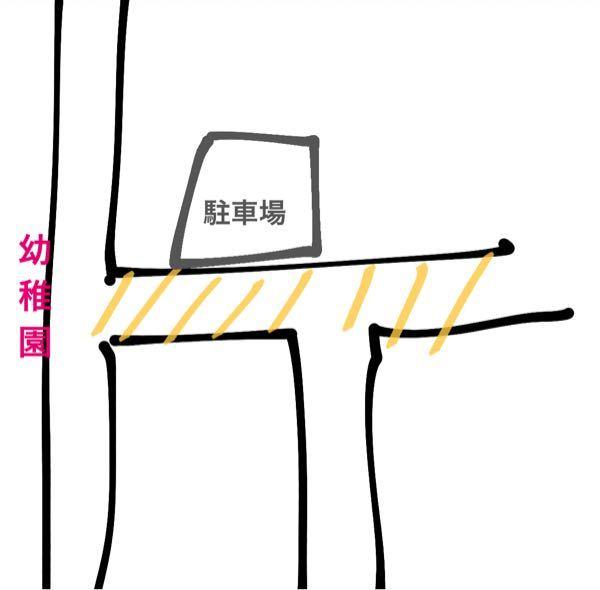 スクールゾーンについて。 分かりにくいですが 画像のような道があり、 黄色の車線の道は 7:30頃から9時までスクールゾーン? になっています。 駐車場がそのゾーンの中にある場合 幼稚園方面に出...
