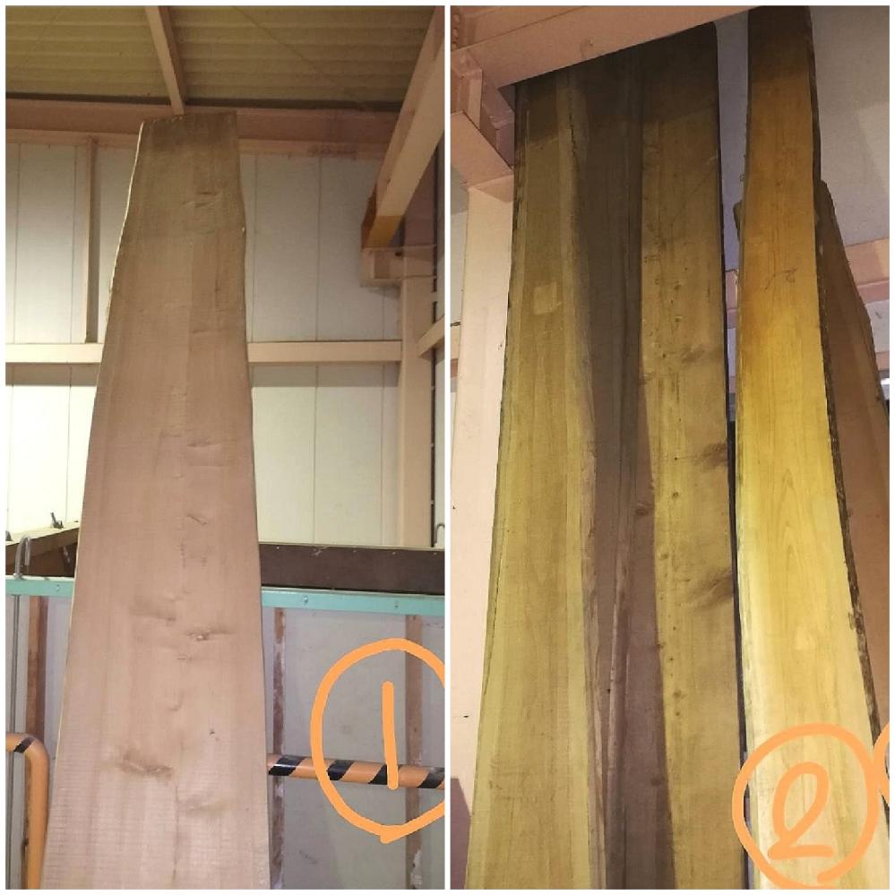 材木の種類に詳しい方、写真の切り口から樹種分かりますでしょうか? 写真②のような杉板に混じり、明るいカラーの板(写真①)が混じっており、こちらの樹種が分からないのです。 なお、写真①のサイズ的には、長さ4メートル弱の幅40センチ、厚さ20ミリといったところです。 補足として、我が家の製材工場に、昔挽いた大量の古材があって、短いものからオークションで捌いているのですが、問題は3メートル超えの板の扱いです。 樹種が分かれば、処分方法も目処がつくように思いますので、宜しくお願いします!