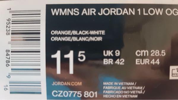 NIKEのSNKRS でこの間発売されたair Jordan 1 low OG の スターフィッシュを買えたのですが、サイズ表記について分からないことがあるので教えて下さい。 1番左に11.5...