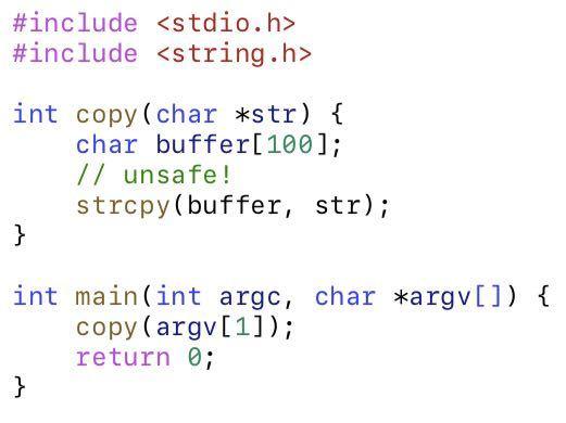 C言語におけるバッファーオーバーフローについて 画像にあるコードがstrcpyを使う事でオーバーフローするようですが、その理由がいまいちよく分かりません。 解説をよろしくお願いします! また、どのようにすればオーバーフローを防げるでしょうか?