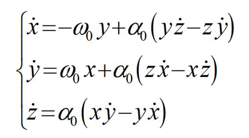 連立常微分方程式の解法に関してです。 画像のような連立微分方程式の解き方を教えて欲しいです。 x, y, zについて解いてください。 ドットは 時間t での微分です。 ω0, α0 は定数です。