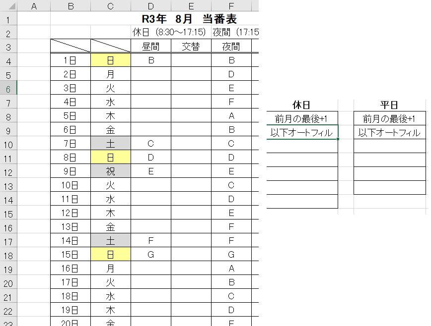 当番表を作成しています。 ひと月につき1シートを使用しています。 当番は土日祝、平日、〇係の3つに分かれています。 担当者は合計8人で土日祝、平日、〇係で人数が異なります。 (土日祝は8人、平日は6人、〇係7人といった感じです。) ここからなのですが、 当月のセル(土日祝:K5、平日:M5、〇係:O5)に 先月の最終当番担当者を自動入力したいです。 土日祝及び平日の最終当番担当者のセルは「F34」です。 〇係の最終当番担当者は「H34」です。 問題点は 「K5」に土日祝の最終当番担当者を入力しようとするとき、 「F34」のセルが土日祝でない場合どういう風にすればいいかわかりません。 Weekday関数を用いて平日であればその分セルを遡れば最終の土日は抽出できますが、 祝日をとらえることができません。 また、「M5」に平日の最終当番者を入力しようとするとき 上記と同様にWeekdayを使えば土日の場合は平日を抽出することはできますが、 祝日が絡んできた場合対応できません。 更に、「O5」に〇係の最終当番者を入力しようとするとき、 〇係は平日のみなので土日祝の場合は空白になってしまいます。 空白の場合上に遡る方法がわかりません。 最後の問題として、 「F34」が最終当番担当者を書きましたが、これは31日ある場合です。 30日の場合「F33」が最終当番担当者となり、「F34」は空白となります。 その場合一つ上に遡る方法がわかりません。 方法は関数でもマクロでも構いません。 ご教授いただければ幸いです。よろしくお願いします。