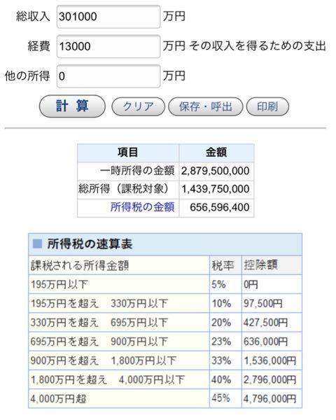 一時所得について 画像のような場合、実際に払わないといけない金額は青字の「所得税の金額」656,596,400円ですか?