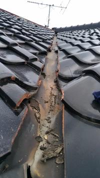 DIYによる瓦屋根の板金補修について。 二階建ての戸建なのですが、二階部分の屋根から雨漏りしているようです。 写真は屋根に登って撮影したものになり、屋根の谷部分の板金がところどころ穴が空いています。 下地の木板からおそらく内部に染み込んでおり、真下の部屋は天井が落ちてきている部分もあるくらいです。  修理の方針としては可能であればDIYで行いたいと思います。 板金付近の瓦を一旦外し、板金の交...
