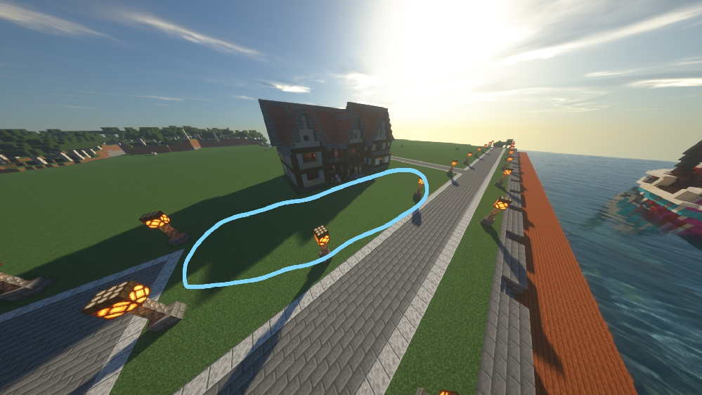 マイクラで街を作っているのですがミスで幅が開いてしまい家を作り直すのも面倒なのでなにかいい案はありませんか??縦12マス横50ますくらい余っています。いい案があれば教えてください!