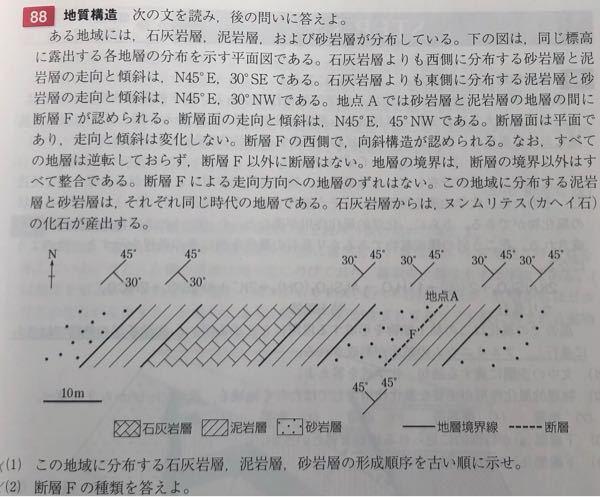 高校地学、地質構造の問題がわかりません。 答えは(1)砂岩層→泥岩層→石灰岩層(2)逆断層 です。わかる方いましたらご解説よろしくお願いいたします。