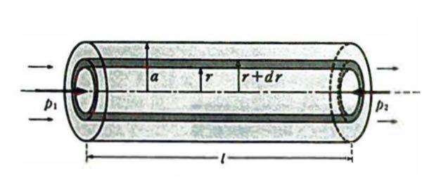 ハーゲン・ポアズイユの法則で半径rからr+drの部分(黒で塗ってある部分)の流量は何故(2πrdr)vになるんですか? {π(r+dr)*2-πr*2}v=dr*2π(d+2)v だと考えていたんですが、、、