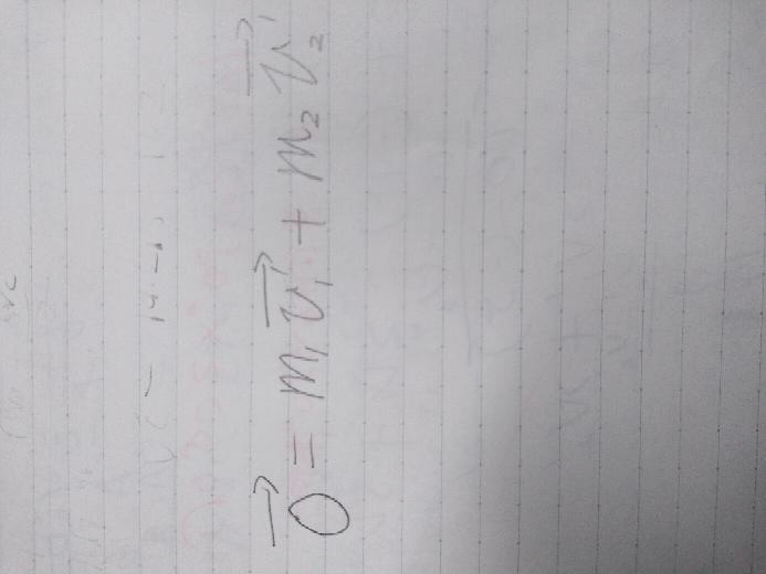 物理の質問です。 物体の分裂の式で0ベクトル=m1v'1ベクトル+m2v'2ベクトルの式が成り立つのは分裂した物体が一直線上にあるときですか? 下の画像が分裂の式です。