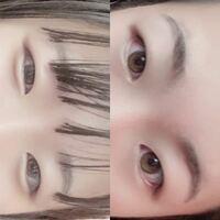 一重の女子です、、 目の形(アーモンド形など)、印象、この目のいいところ、悪いところ、メイクのポイントを教えて欲しいです(*_*)  右が真顔、左が笑った時の顔です。   ・遺伝で瞼が重めです。  ・まつ毛は下に向いているけど上下共に長い方だと思います。  ・目の色は明るいです。  ・クマが生まれつき酷いです。  ・涙袋は笑った時しかありません。  ・眉毛と目の間が広めです。  ・目尻の...