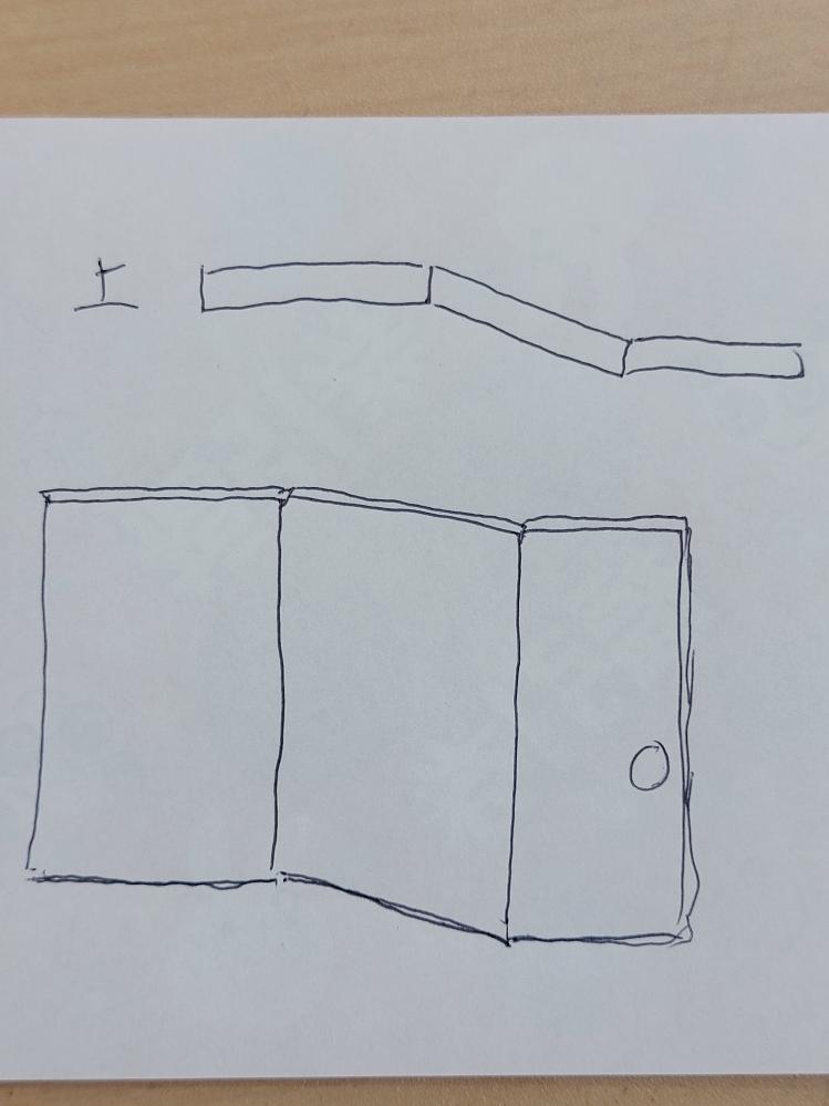DIY初心者なんですが、個人の店舗のパーティションを作りたく、写真の図のように板と板を160度ぐらいで繋ぐやり方を教えてください。 宜しくお願い致します。