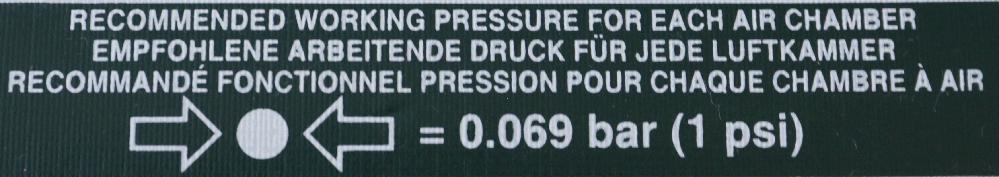 この画像の英語を翻訳してください。 ゴムボートの印刷面です。 多分、各気室に入れるエアの空気圧のことだと思いますが、MAX値なのか、推奨値なのか、アバウトなのか、そんな事一切触れていないのかのニュアンスが分かりません。