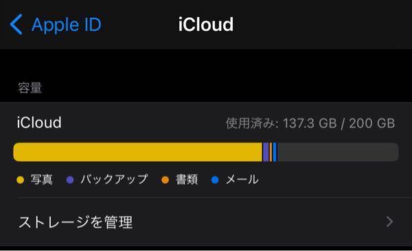 iCloudのストレージを200GBで使用しています。支払いを忘れており、一度5GBにダウンしたのですが、すぐに支払い再度200GBを購入しました。 アルバムを開くと「〜項目がiCloudにアップロードされていません」との表示が出ます。その下に「iCloudストレージの空き容量が低下しています」とも書かれています。 スクリーンショットを見て頂ければわかるかと思いますが、200GB中137GBしか使っていません。 支払ってから2日経つのですが、いつになるとアップロードされますでしょうか