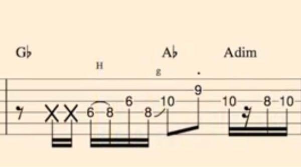 ギターのtab譜でこのグリッサンドの所の弾き方が分からないのですが、分かる方教えてください