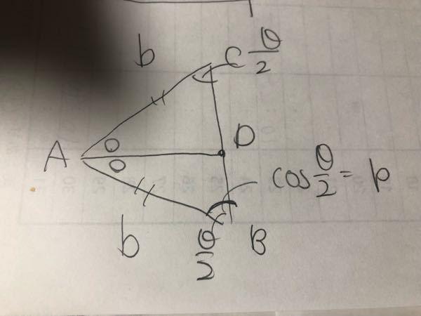 CBの長さをb.pを使って表せますか? △ABCの∠Aの二等分線とCBの交点をDとする。 AB=AC=b、∠ABC=∠ACB=θ/2で cosθ/2=pです。