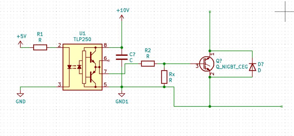 インバータの制御等に使われるフォトカプラを用いたゲート駆動回路についての質問です。 写真の抵抗R2はゲート抵抗だと思うのですが、抵抗Rxはどのような意味があるのでしょうか?値が1k以上あるのをよく見かけるのでプルダウン抵抗みたいな目的があるのでしょうか? 回答頂けたら幸いです。