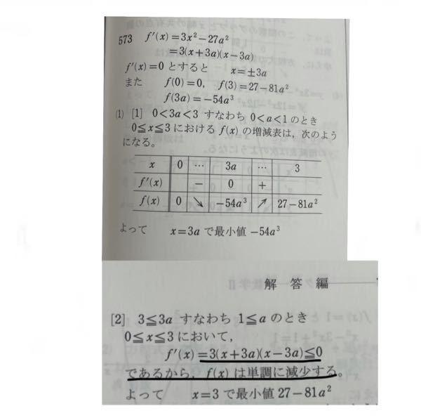 数Ⅱ 微分です 問題 a>0とする。 関数f(x)=x^3-27a^2・x (0≦x≦3) 最小値を求めよ 写真の下線部のf'(x)=…≦0となる理由がわかりません 教えてください…