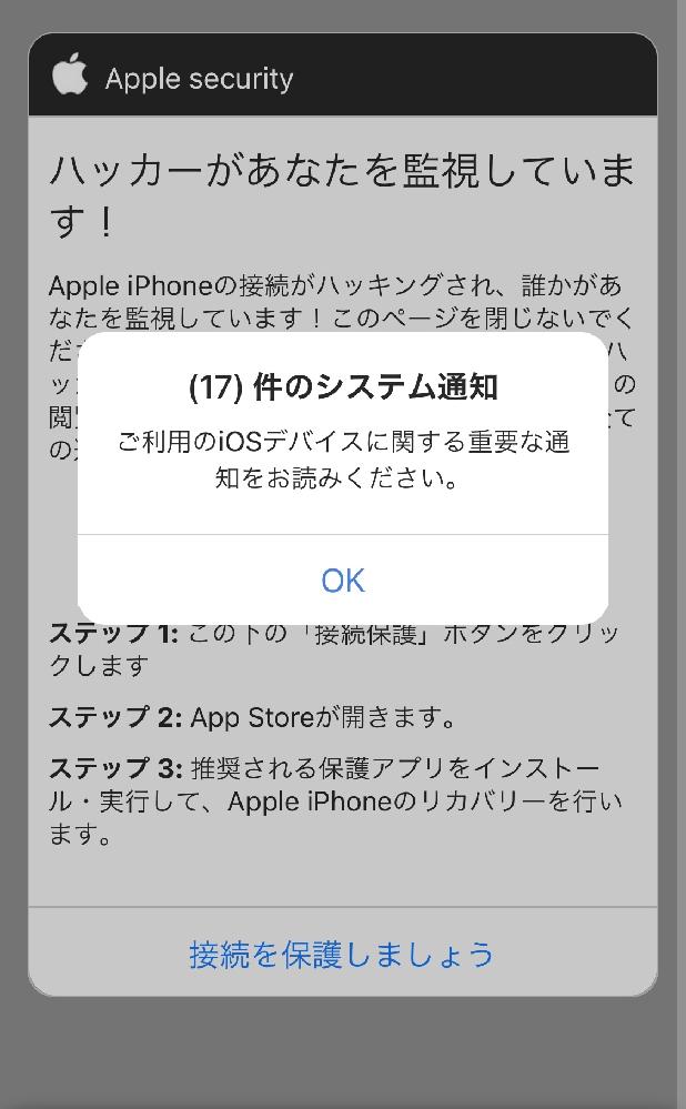 調べものをしていたら、こういう画面が出てきたのですが、これは何なんでしょうか?Appleからでしょうか? ご存知な方がいらっしゃいましたら、お教え頂ければ幸いです。 宜しくお願い致しますm(*_ _)m