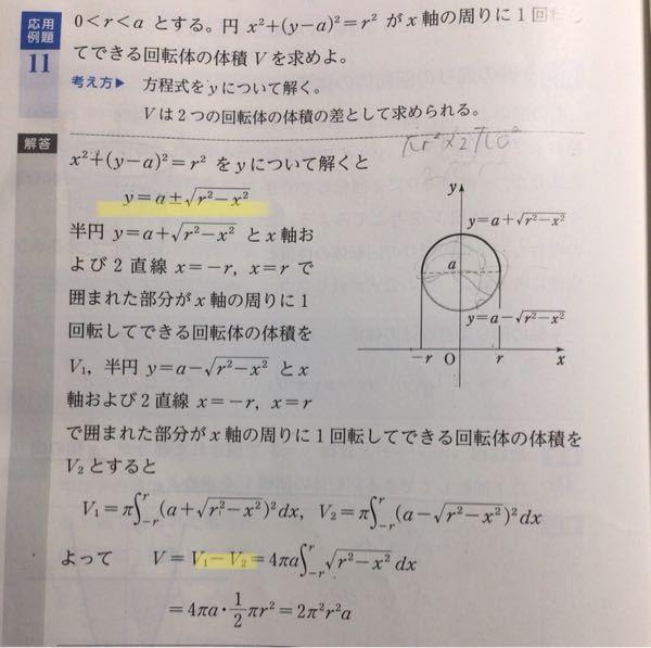 数学Ⅲについてです。この問題についてですが、黄色線部の始めはどのようにしてやったのですか?2yaはどこに行ったのですか? 二つ目のやつなのですがなぜV2を引いたのですか?を引いたんですか?
