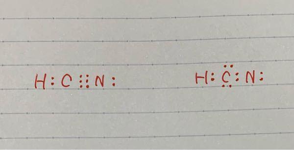 シアン化水素の電子式なんですが、右の式じゃだめなのでしょうか??だとしたら左の式でないといけない理由を教えてください!!