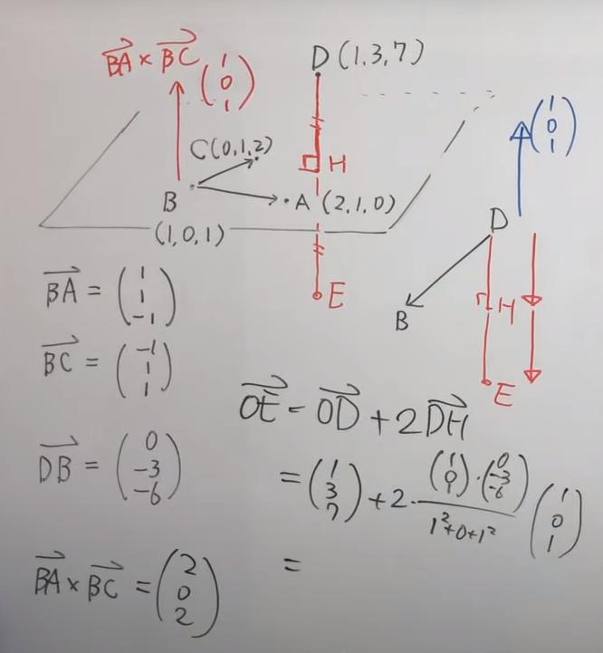正射影ベクトルについてです。 ベクトルDHのところです。画面右下あたりです。 ①法線ベクトルは上向きで(1,0,1)としているのに、下向きなのでマイナスはつけないのはなぜですか? ②ベクトルDHの表し方ですが、正射影ベクトルですと、 →DH= {(→DB ・→OE) /OE^2 } →OEだと思っておりました。 この画面の式はどうなっているのですか? あまり慣れておらず、詳しく教えていただけますでしょうか。