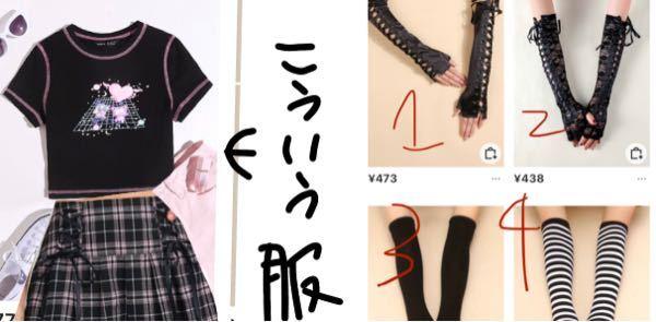 画像の服にはどれが合うと思いますか? サブカル 地雷 量産型 服 アームカバー ゴスロリ