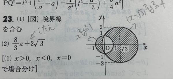 高校数学に関する質問です。 下記の写真において、斜線部分の面積の求め方が分からず困っています。 どなたかわかる方いましたら教えてください