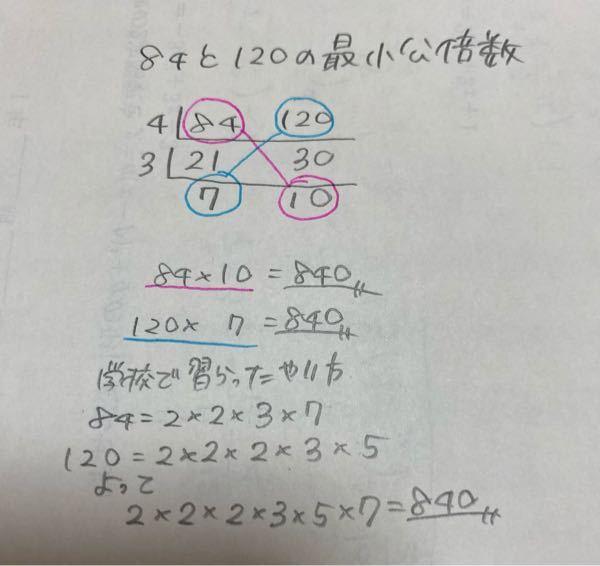 最小公倍数について 高一です。数Aの授業で最小公倍数について勉強しています。 2つ以上の正の整数を素因数分解し、出てきた数の中で最小限必要な数たちをかけると最小公倍数になると教わりました。 練習問題を解いている途中で、元の正の数と最後にでてきた素数をななめにかけるとそのまま最小公倍数になることが分かりました。4問中全てが当てはまりました。 これはどの問題でも言えることですか? 文章だと分かりにくいので紙に書いてみました