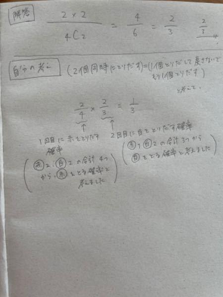 数学Aの確率の問題です。解答の意味は分かるのですが、自分の解答の間違っている所がどうしても分からないのでどなたか教えて下さい。解答と自分の考えは写真で添付します。 問題 Aの箱には赤玉2個、白玉2個が入っている。 この時、箱Aから玉を同時に2個取り出す試行において白玉と赤玉が一個ずつでる確率を求めよ。