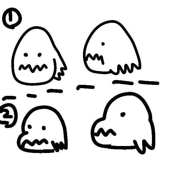 僕のヒーローアカデミアに出てくる口田甲司の顔面ってどうなってるのでしょうか? 最近の漫画の方だと2のように見えるのですが、初期は1だったと思います。 地味にデザインが変更されてるのでしょうか? 自分的には2の方が可愛くて好きなのですし、2の方が今更ですが人気が出やすい気がします イラスト適当ですみません。