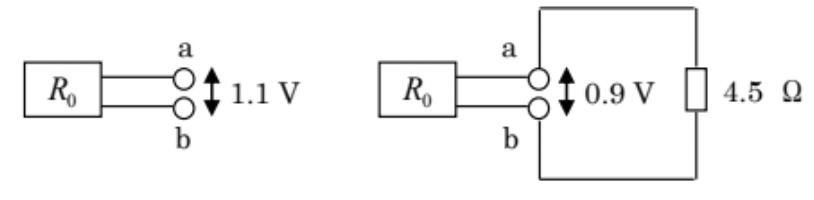 至急お願いします。途中式 ある直流回路網の 2 端子間の電圧を測ったら、1.1 V であった。また、端子間 に 4.5 Ωの抵抗を接続したら、端子電圧は 0.9 V になった。端子間から見た回路網 の抵抗 R0 の値を求めよ。 答えは 1Ω