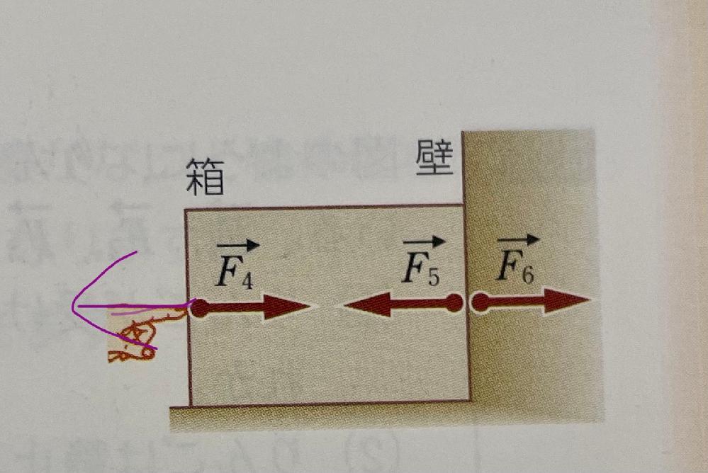 物理の作用反作用の事なんですが、紫の矢印のような場所にF4の反作用はどうしてつかないんですか?