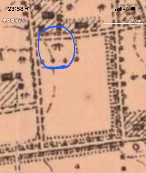 明治時代の終わりの地図です 青い丸で囲った 地図記号は、何を意味しますか?