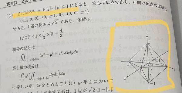 写真にある正八面体の方程式が |x|+|y|+|z|≦1 であると、さらっと書かれていたのですが、これは暗記するしかないのですか? 導くのだとしたら是非ともやり方を教えていただきたいです!