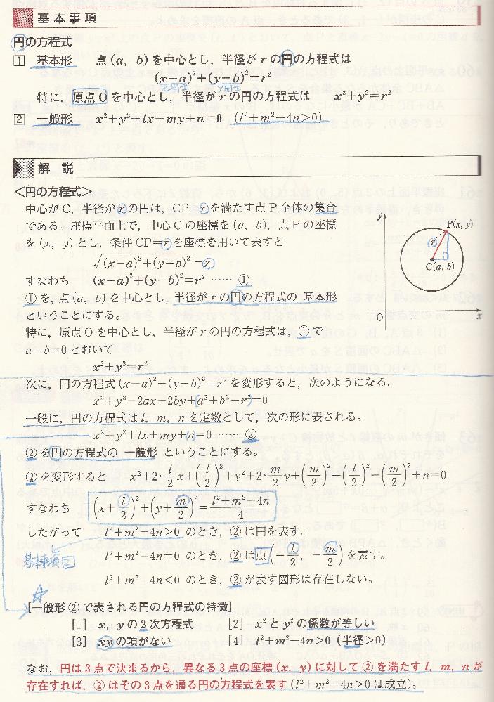 円の方程式についてお尋ねします。 一番下に、 円は3点で決まるから と書いていますが、 これは外接円を根拠にしているのでしょうか。