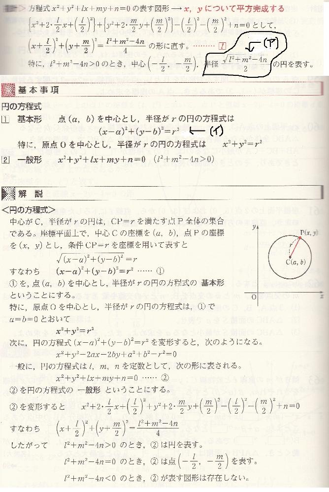 円の方程式についてお尋ねします。 質問1: (ア)の式についてですが、 これは(イ)のr²をrで表したものでしょうか。 質問2: (イ)の(x-a)²+(y-b)²は (x+l/2)²+(y+m/2)²のことでしょうか。 *(ア)(イ)は追記している部分です。 汚い字で申し訳ありません。。