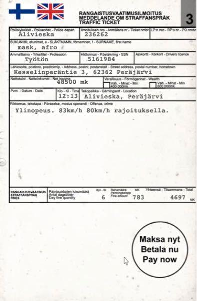 フィンランドにて警官から提示されました。 何が書いてありますか?