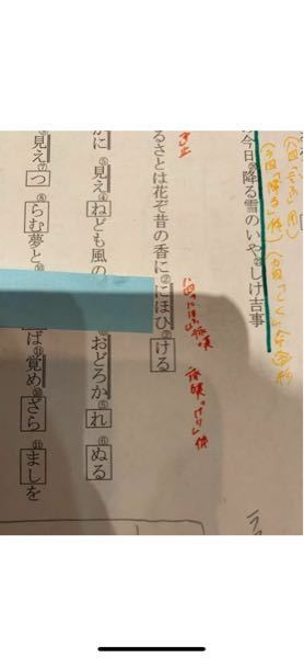至急です!! 青の付箋の横の「にほひ」の活用の種類と基本形と活用形を教えて下さい!