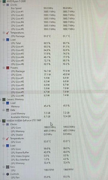 自作して使い始めて3年経つパソコンで、 エーペックスや原神を開いた時だけ、数分後にいきなりパソコンの電源が落ちます。ゲーム自体の問題ではなさそうで、クリップスタジオペイント(絵描きソフト)やYouTubeやNetflixは問題なく動きます。とりあえずCPUファンの掃除やグリスの塗り直しをしてみましたが、治りませんでした。またエイペックスを起動したときCPUの温度が38℃から61℃、GPUの温度が40℃から83℃まで上昇したところで画面がぱっときえました。パーツ交換を検討しているのですがどのパーツが原因なのでしょうか?もし同じような体験をされた方がいましたらどのように対処したのか教えてもらえないでしょうか? スペック(中位) プロセッサ AMD Ryzen 5 2600 Six-Core Processor 3.40 GHz メモリRAM 16.0 GB グラボNAVIDIA GeForce GTX1660 マザボ ASROCK B450M Pro4 下の写真が落ちる前の温度などを表示しているアプリの画像です。少し見えにくいですがすみません。