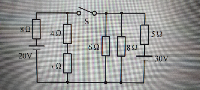 電気回路の問題について、教えて下さい。 スイッチSを閉じてもスイッチSに電流が流れないようにするためには、抵抗Xを何Ωにすればよいか。 こちらの問題です。宜しくお願い致します。