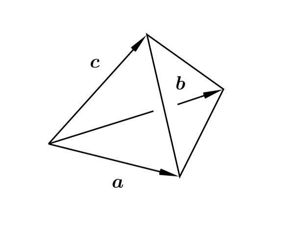 一辺の大きさが 1 である正四面体を考え,線型独立なベクトル a, b, c を図のように定める. このとき,グラム・シュミットの直交化法により,a,b, c から正規直交系{u1, u2, u3} を見い出せ. 但し,基底の 2 つは a,b が生成する平面上にあるようにせよ. 解答お願いします