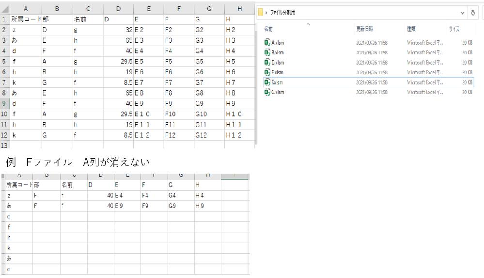 エクセルVBA初心者です。一つのシートから、任意の列(今回はB列)を選んで、 列ごとに別のbookを作成し、B列に関するものがシートにに記載されるプログラムを考えています。 実施したいことは 1...