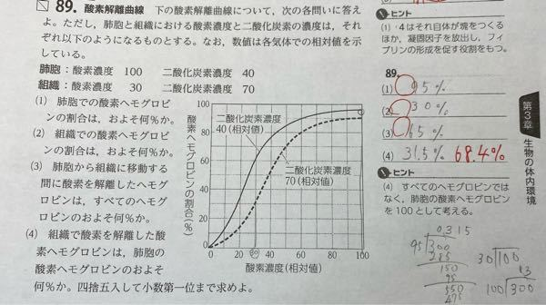 【至急お願いします!】生物基礎です。(4)の答えを、どんな計算で導くか教えていただきたいです!