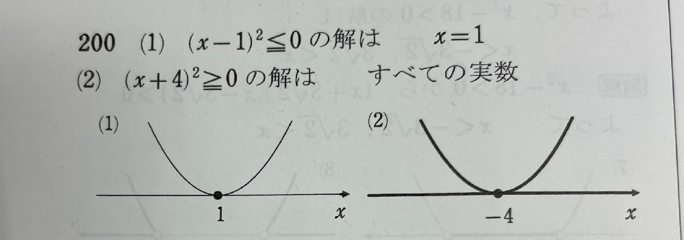 このふたつの違いはなんですか?なぜ(2)はx=4にならないのでしょうか?