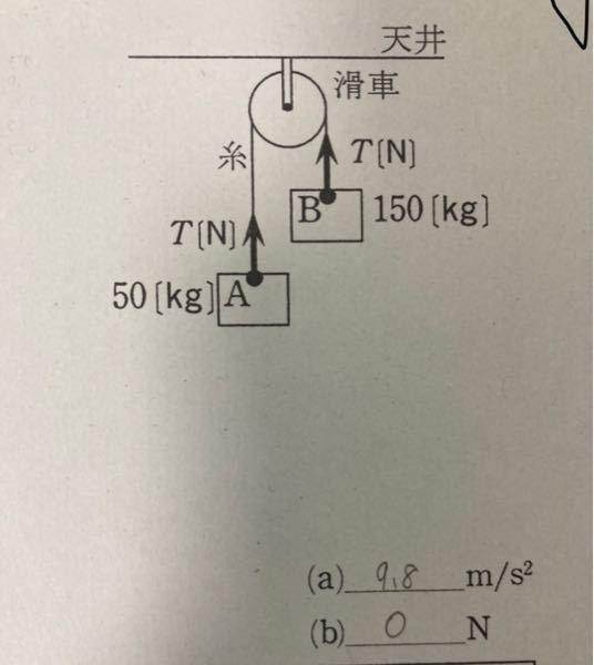 物理基礎で分からないとこがあります (1)物体A Bの加速度の大きさ (2)糸の張力の大きさT(N) (2)が0Nとなってしまったんですがあってますか?