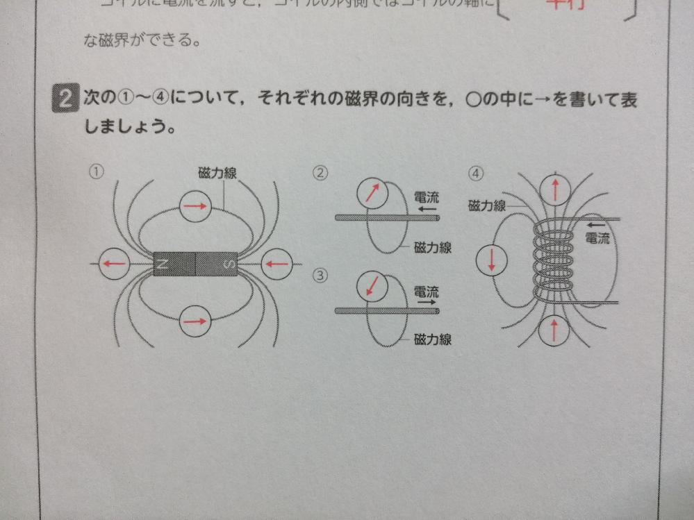 中2理科 磁界の向きを求める問題です。 下画像の④で、↑の向きになるのはなぜですか? 回答よろしくお願いします。