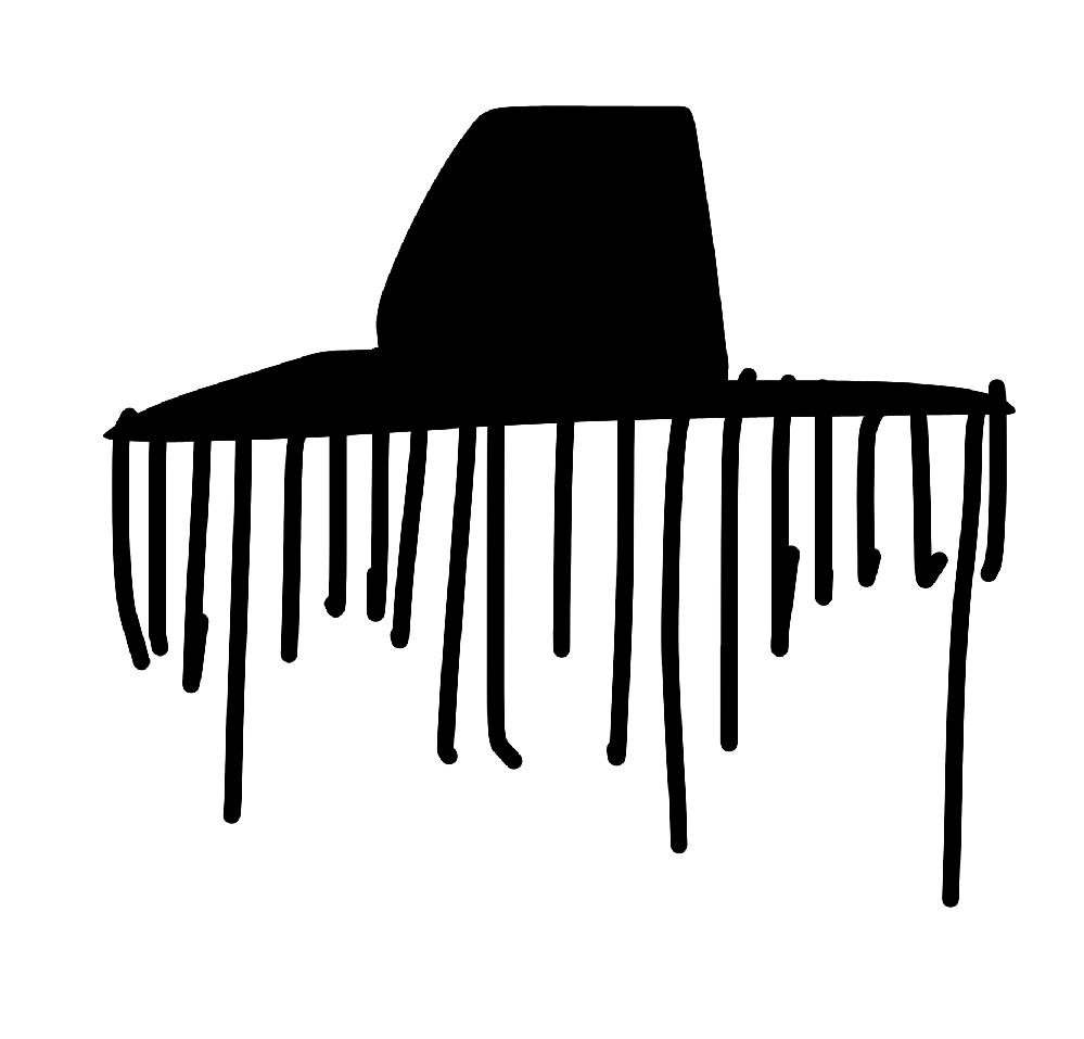 こういう黒い帽子に日よけ?みたいな紐が垂れ下がってる帽子ってなんて言う帽子ですか?