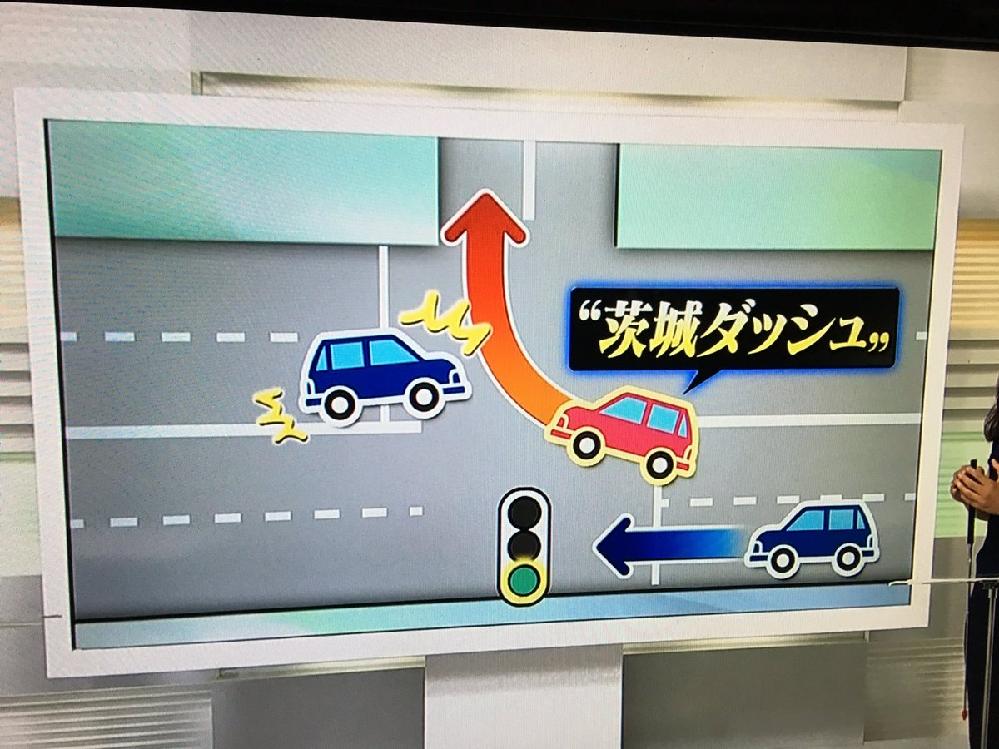 """""""茨城ダッシュ""""のなにが悪いのですか。 ・・・・・・・・・・・・・・・・・ ローカルルールの""""茨城ダッシュ""""は悪いことだと非難されていますが。 よく分からないのですが。 青信号になったのに対向車..."""