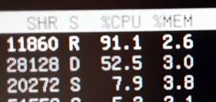 パソコンは100%の限界を突破しますか? 魂があって、気合と根性でしょうか? Linuxのtopコマンドで、あるプロセスが91.1%、別のプロセスが52.5%これは、100%の限界を超えた力を発揮したということでしょうか!?