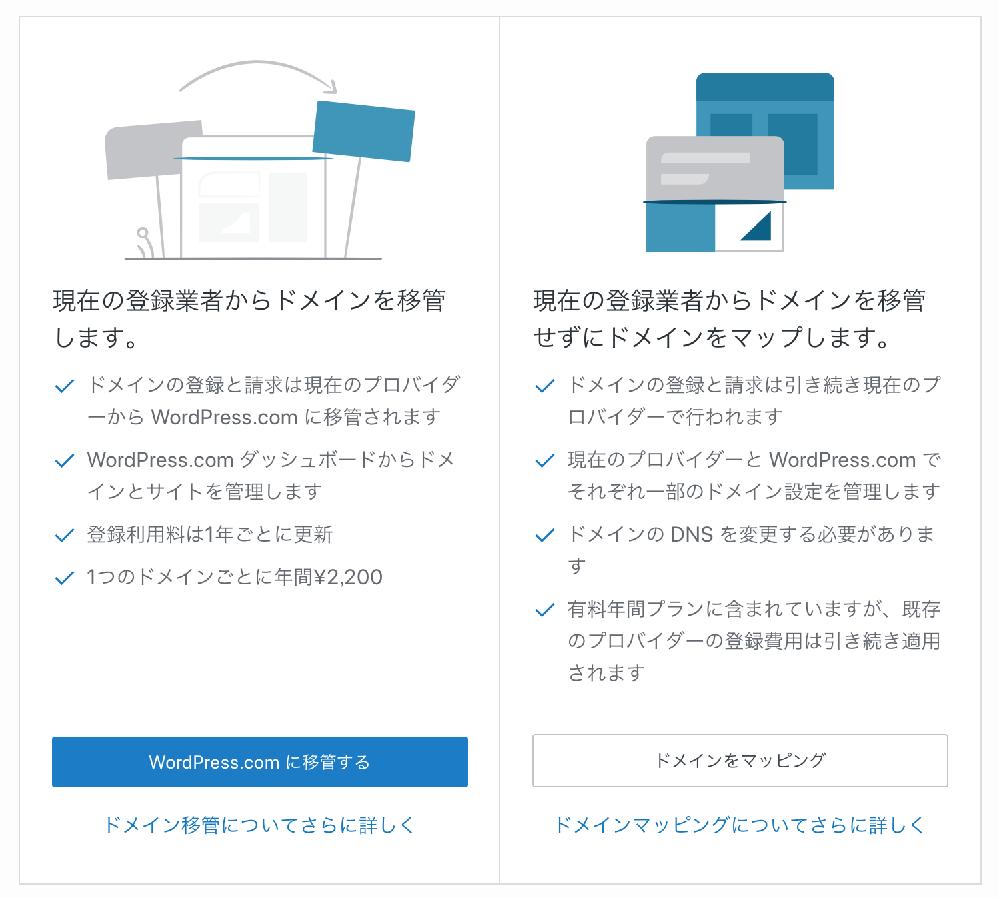 WordPress.com(以下、WP.com)についてお尋ねです。 2018年08月より、WP.comを無料で利用してきました。 それが9月にWordPressのアップデートとテーマの更新を、サイト開設(2018年08月)から初めて行ったところ、WP.comの登録が解除され、添付画像の画面が出てきました。 単に利用料金が年間2200円発生するだけなら構わないのですが、「ドメインの登録と請求は、現在のプロバイダーからWP.comに移管されます」とあります。 私の家のプロバイダーはNTTを利用していますので、これがWP.comに変わるということでしょうか? 私個人なら選択肢はなくはないのですが、私の家では牧場を経営しており、その仕事の為と、家族全員の為のプロバイダーとして位置づけされています。従って、私個人の判断では、プロバイダーを移管することはできません。 これまでWP.comを問題なく無料で利用できてきた経緯があったのに、2018年からしようが変わったのでしょうか? WP.comを再利用したいのですが、どうすればいいのでしょうか?