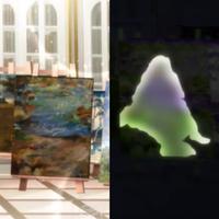 どなたかこの絵画分かる方いらっしゃいますでしょうか。 左では人物だけが描かれておらず、右のシルエットが人物になります。